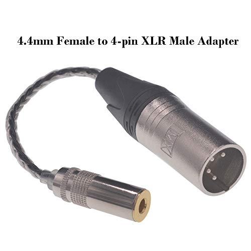 4-pin XLR Male to 4.4mm Female Mixed Braided 8 Wire 152 Core Headphone Adapter for Sony PHA-2A,WM1A/1Z,iBasso,Fiio,HiFiman,NW-ZX300A,XBA-Z5,N1AP,Astell&Kern Layla Rosie,Roxanne II AK T8iE MKII Jack Co 4 Pin Xlr Extension Cable