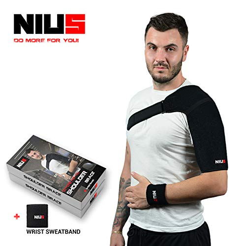 Shoulder Support Brace - Dislocated Shoulder Brace | Quality Shoulder Support, Brace Immobilizer, Brace Rotator Cuff, AC Joint, Compression Shoulder Brace ONE Size - by NIUS Brand by NIUS
