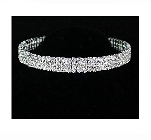 Janefashions 3-Row Clear Austrian Rhinestone Crystal Choker Necklace Collar Dance Party Wedding Prom N175s Silver -