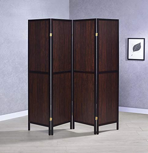 (Coaster 4 Panel Room Divider in Rustic Tobacco and Cappuccino)