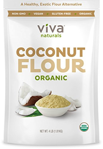 (Viva Naturals Organic Non-GMO & Gluten-Free Coconut Flour, 4 lb, Perfect for Bread Mixes, Baked Goods & Other Treats)
