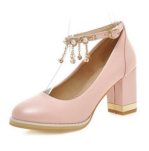 AgooLar Damen Schnalle Rund Zehe Hoher Absatz PU Eingelegt Pumps Schuhe Pink