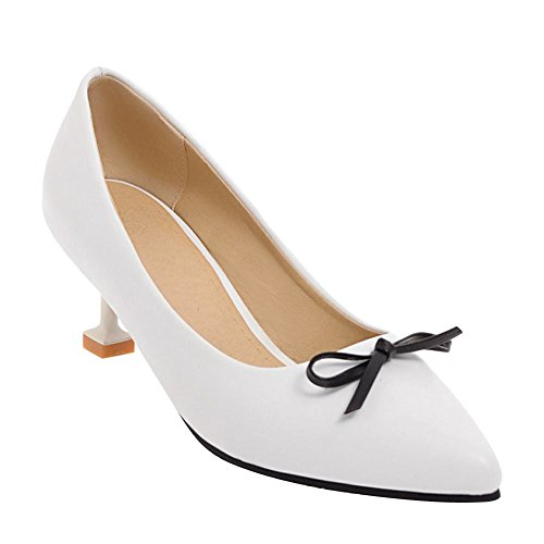 Carolbar Women's Grace Fashion Bow Mid Heel Pointed Toe Court Shoes White