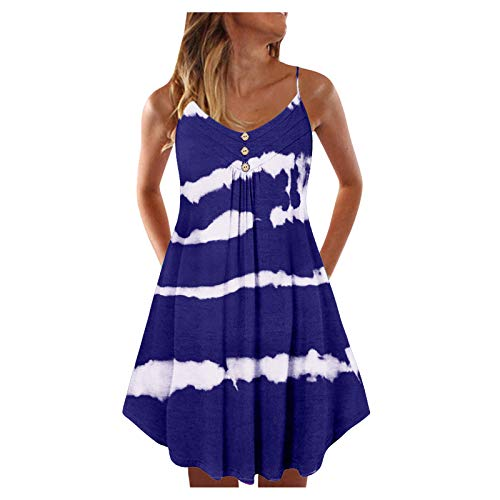 Women's Summer Dresses, Women's Summer Light Sexy Fashion Multi-Color v-Neck Button Tie-Dye Printing Big Loose Dress(Blue,17_S