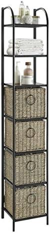 Best modern bookcase: Windsor Black/Brown Metal/Slate/Wicker Bookcase