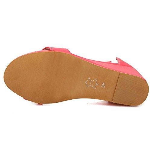 TAOFFEN Mujer Moda Punta Abierta Sandalias Tacon De Cuna Al Tobillo Fiesta Zapatos Rosa Roja