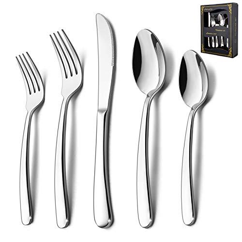 40-Piece Heavy Duty Silverware Set, HaWare Stainless Steel Solid Flatware Cutlery for 8, Modern & Elegant Design for…