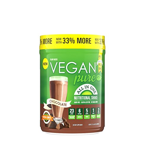Vegan Pure All in One Nutritional Shake, Vegan Chocolate Flavor Plant-Based Protein Powdered Drink, 1.34 pounds (12 Servings), Dairy Free, Soy Free & Made with Gluten-Free Ingredients by Vegan Pure