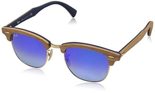 Ray-Ban Men's Clubmaster (m) Non-Polarized Iridium Square Sunglasses, Shiny Gold, 51 - Ban Glasses Wood Ray