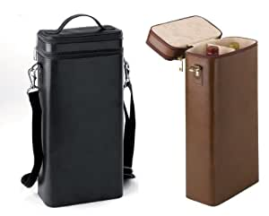 Red / White Wine Leather Courier Case - BLACK