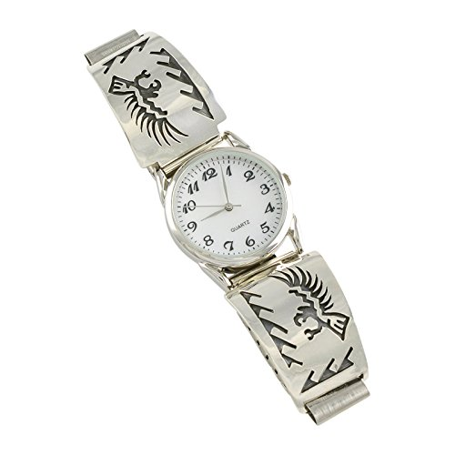 Sharon Cisco Sterling Silver Petroglyph Overlay Mens' Watch Navajo Jewelry