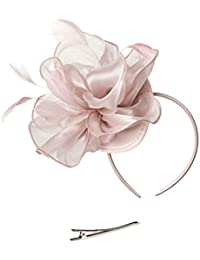 Fascinators Hat for Women Tea Party Headband Kentucky Derby Wedding  Cocktail Flower Mesh Feathers Hair Clip c1740baae8e