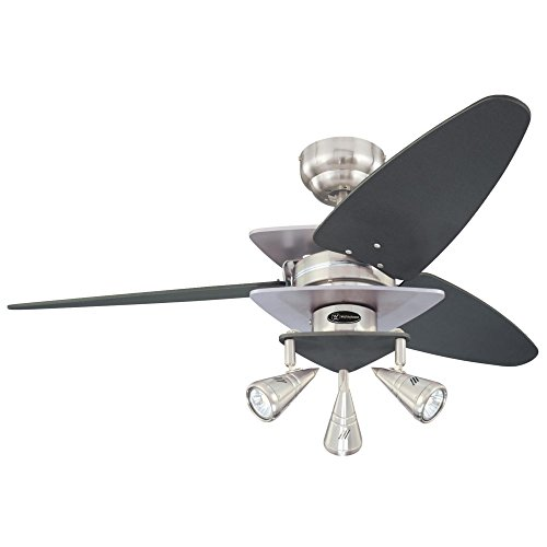Contemporary Ceiling Spotlight - Westinghouse Lighting 7850700 Vector Elite Three-Light 42-Inch Reversible Three-Blade Indoor Ceiling Fan, Brushed Nickel and Graphite with Spotlights