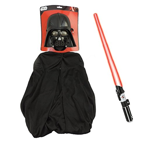 [Star Wars™ Darth Vader 1/2 Mask, Cape & Lightsaber Costume Kit] (Luke Skywalker Dark Side Costume)