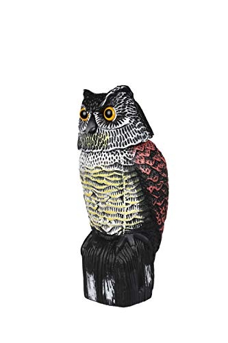 Decoy Head Owl - sunpangpang Owl Decoy with Rotating Head,Natural Enemy Scarecrow Deterrent Pest Crow Bird Control Repellents,Garden,Intimidation Insects