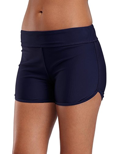 eulo Women's Stretch Board Short Tankini Bottom Waistband Swim Boyshort Navy M