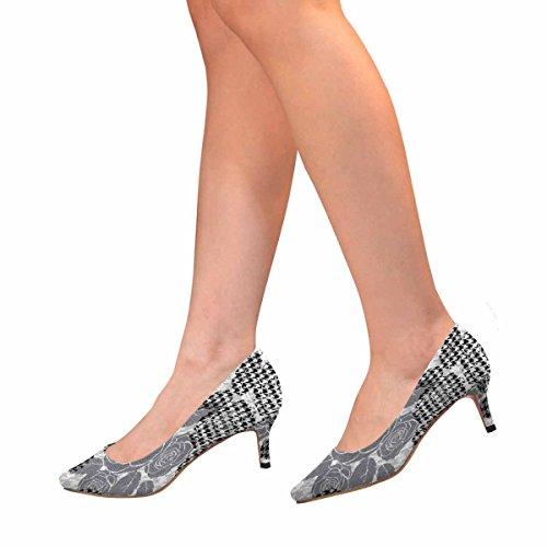 Tallone Basso Gattino Gonnellino Vestito Scarpe A Punta Aguzza Scarpe Da Passeggio Modello Dente Con Rose Multi 1
