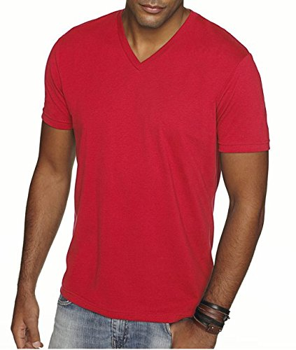 - Next Level Apparel 6440 Mens Premium Fitted Sueded V-Neck Tee - Red, Large