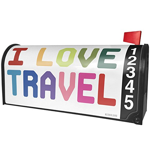 NEONBLOND I Love Travel,Colorful Magnetic Mailbox Cover Custom Numbers by NEONBLOND