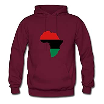 Off-the-record Chic Red, Black & Green Africa Flag Cotton Hoody X-large Women Burgundy