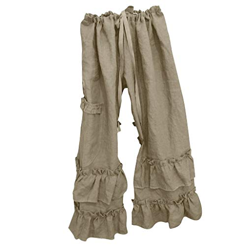- Landscap Women Plus Size Long Pants Cotton Linen Folds Pants Casual Ruffled Loose Pocket Pants (Khaki,XXXL)