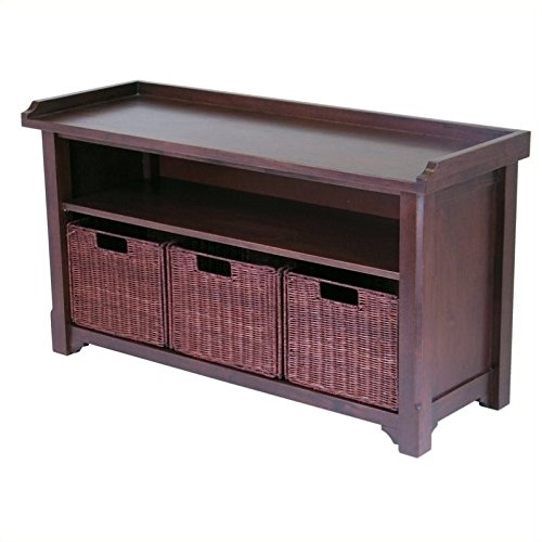 Winsome Wood MilanWood Storage Bench in Antique Walnut Finish with Storage Shelf and 3 Rattan Baskets in Antique Walnut  Finish by Winsome Wood