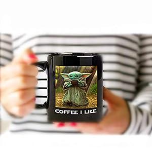 Cute Alien Funny Mugs – 12oz Black Ceramic Coffee Mug – Perfect Gift for Dad Mom Kids – Coffee I Like