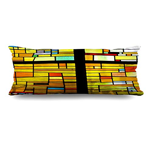 Ahawoso Body Pillows Cover 20x54 Inches Diagonals Blue Window Multicolored Stained Glass Pattern Cross Brown Mosaic Color Church Black White Decorative Cushion Case Home Decor Pillowcase ()