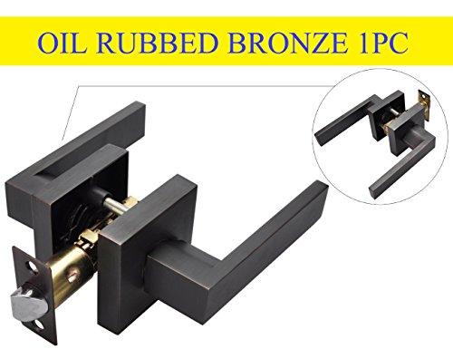 Plate Lever Handle - Square Lever Lock Set for Passage Door,Heavy Duty Door Lock Handle,oil rubbed bronze Passage