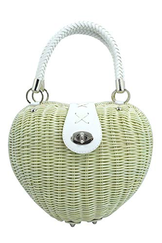 Dancing days Vintage 50's Ivory Heart Shaped Wicker basket Handbag