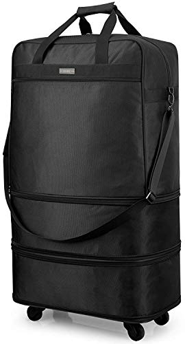 Hanke 20 inch/24 inch/28 inch Foldable Suitcase Black Expandable Luggage with Universal Spinner Wheels Lightweight Luggage Bag Gym Travelling Weekender Overnight for Men and Women