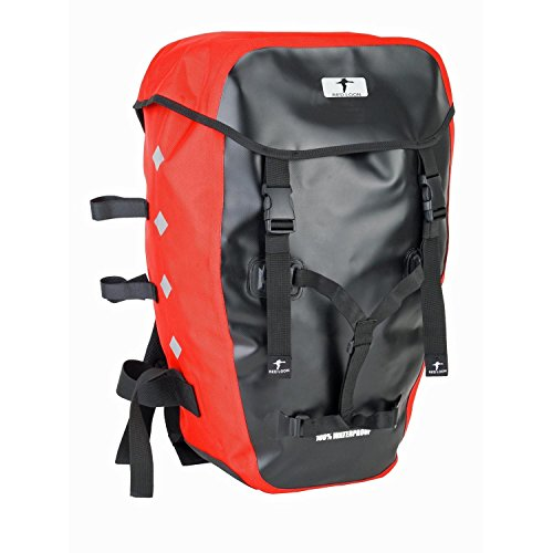 Red Loon Dreifachtasche Packtasche Gepäcktragertasche Hecktasche wasserdicht schwarz/rot