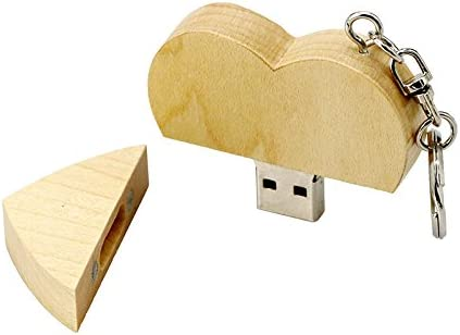 Civetman Wooden Heart Shape 64GB USB 2.0 Flash Drive Storage Memory Stick