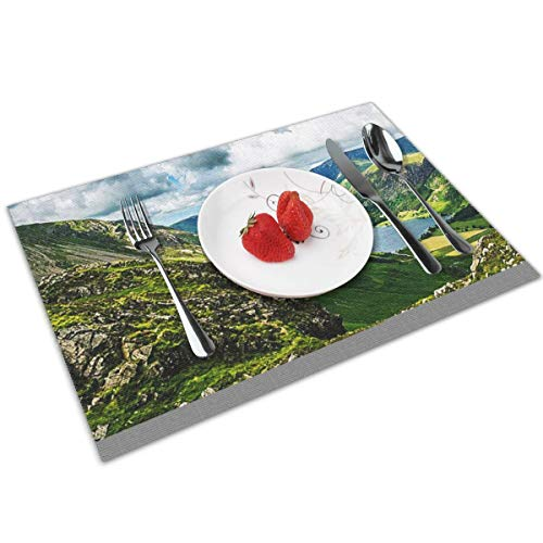 POQQ Placemats for Dining Table Buttermere Lake District 3, Washable Easy to Clean PVC Placemat, Heat Resistand Kitchen Dinner Table Mats 12x18 Inches Set of 4