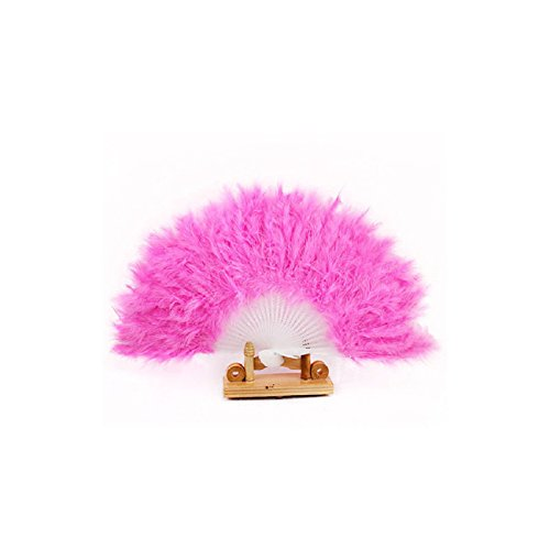 [Tonsee Nice Feather Fan for Dance Props Hand Goose Feather Folding Fan Wedding (Pink)] (Dance Fans Costumes Accessories)