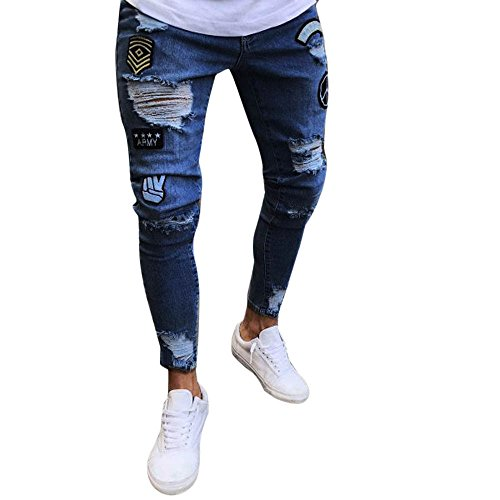 (WENSY Men's Fashion Personality Slim Motorcycle Zipper Jeans Jeans Skinny Wear Pants Distressed Tear Pants Feet Jeans(Dark Blue,S))