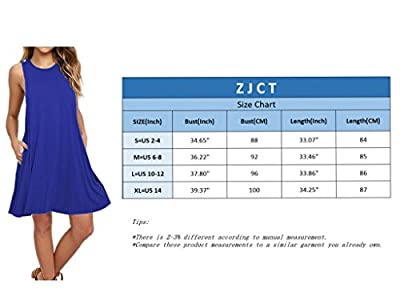 ZJCT Women's Sleeveless Pockets Casual Loose Swing T-shirt Dresses