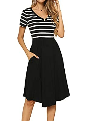 LAINAB Women's Casual Loose Flowy Short Sleeve Midi Dress with Pockets