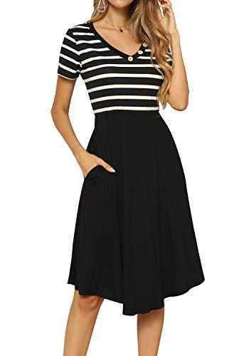 Women Loose Casual Short Sleeve Midi Empire Waist Work Dress with Pockets Black XL
