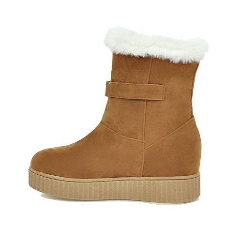 AmoonyFashion Womens Frosted Round Closed Toe Solid Low-Top Kitten-Heels Boots Yellow Pq53RA