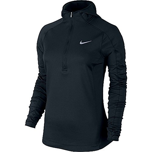 Zip Thermal Hooded Pullover Sweatshirt (Nike Thermal Dri-FIT Quarter-Zip Running Hoodie - Women's, Black,)