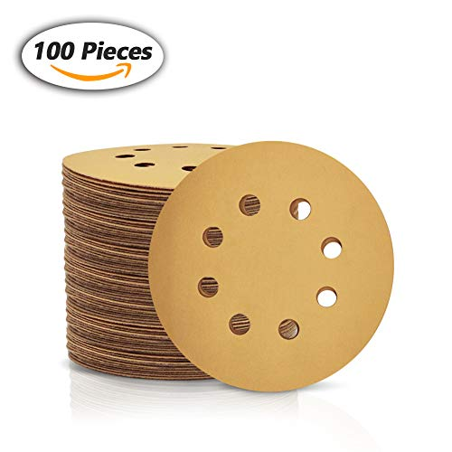 SPEEDWOX 100 Pcs 5 Inches 8 Hole Sanding Discs 500 Grit Dustless Hook and Loop Sandpaper for Random Orbital Sander Yellow Finishing Discs for Automotive Woodworking from SPEEDWOX