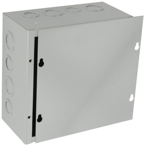 (BUD Industries JB-3957-KO Steel NEMA 1 Sheet Metal Junction Box with Knockout and Lift-Off Screw Cover, 8