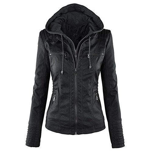 hooded faux leather jacket - 4