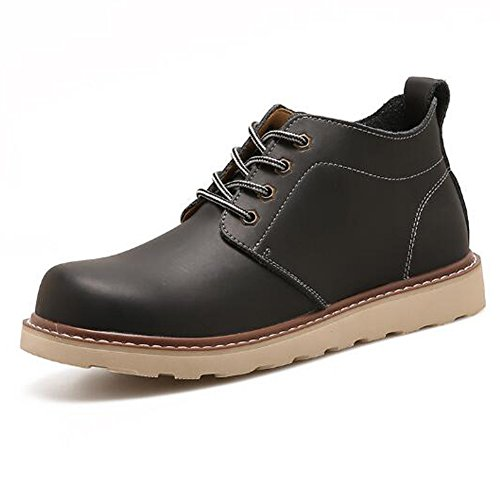 PP FASHION Mens Ankle High Round Toe Work Boots Oxford Desert Shoe Black A06q0Vs4