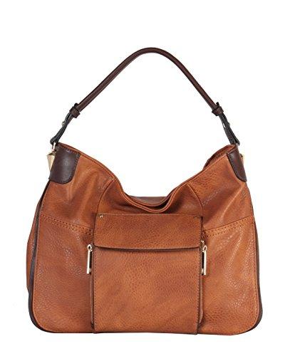 er Front Flap Pocket Large Hobo Womens Purse Handbag HS-3635 (Leather Front Flap)