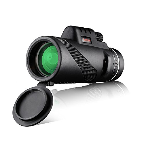 MeeQee 10X42 Dual Focus Monocular Telescope, Prism Film Optics, Tripod Capable, Waterproof, Low Night Vision, Monocular Scope for Birdwatching/ Hunting/ Camping/ Hiking / Golf/ Concert/ Surveillance