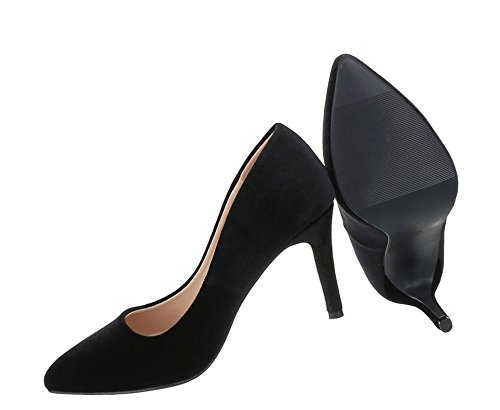 Klassische Pumps | Stiletto Absatz | Abendschuhe Velours | Business Schuhe | Spitze Kappe | Abendschuhe Pumps | Schuhcity24 Schwarz