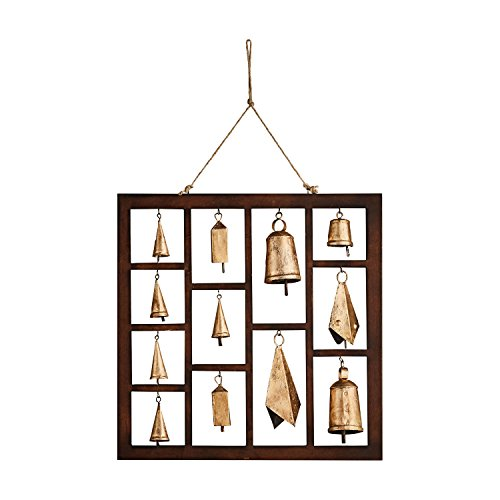 ART & ARTIFACT Framed Bells Chime - Indoor Outdoor Hanging Wall Decor - 18'' Square by ART & ARTIFACT