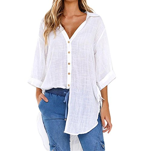 Women Loose Button Long Sleeve Shirt Dress Cotton Linen Blouse Casual Solid Top(White,Medium)